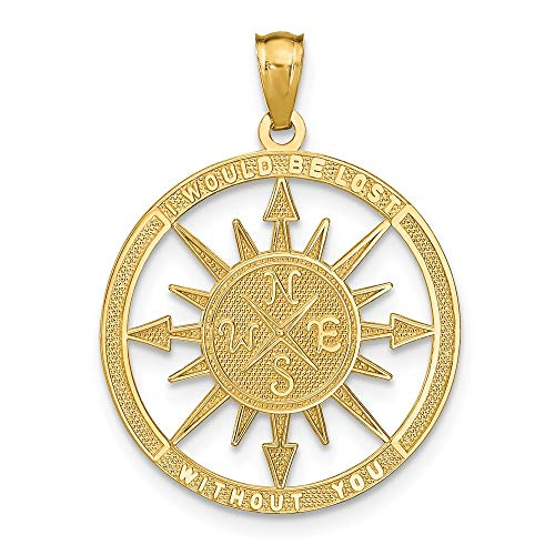 14k Yellow Gold Lost Without You Compass Pendant Charm Necklace Sea Shore Boating Man Fine Jewelry Gift For Dad Mens For Him