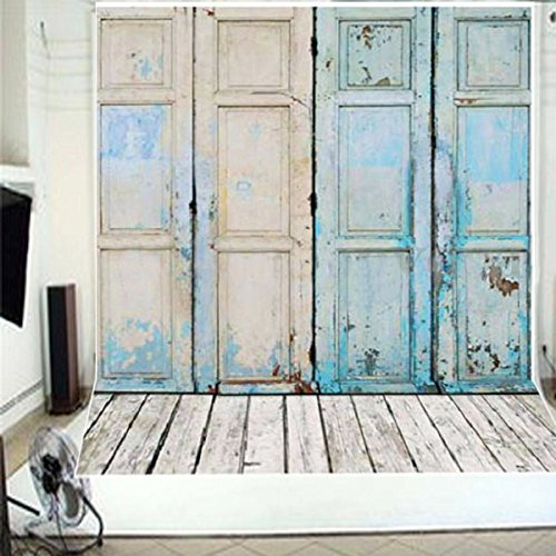 (5x7ft Newest Blue Four Wood Doors & Wood Floor Vinyl Wedding Backdrop Background)