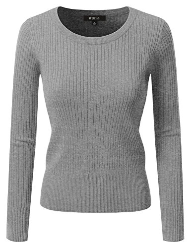 [DRESSIS Women's Long Sleeve Crew Neck Cable Knit Sweater HEATHERGREY L] (Long Sleeve Woven Sweater)
