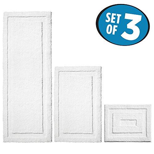 mDesign Soft Microfiber Non-Slip Bathroom Mat/Rug for Bathroom, Vanity, Bathtub/Shower, Dorm Room - Set of 3, White - White Bathroom Rug Sets 3 Piece
