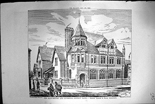 Antique Print of Manchester Liverpool District Bank Barker Ellis Architects 1881