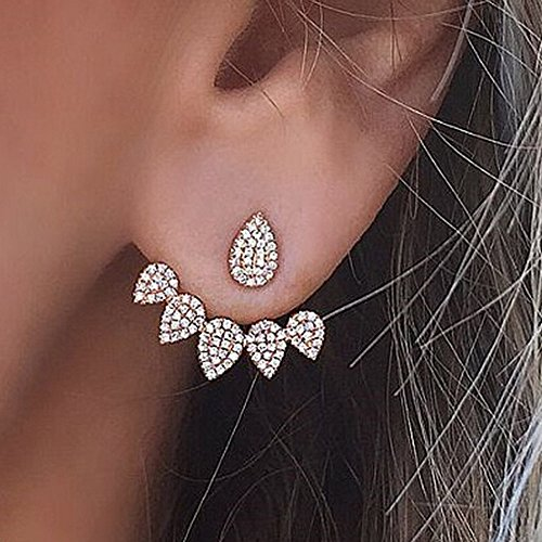 & Topaz Garnet Pink Earrings (Gbell Clearance! Fine Diamond Crystal Tear Drop Simple Earrings - Women Girls Gold Sliver Water Drop Stud Earrings Jacket Jewelry Statement (Silver))