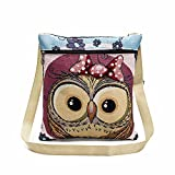 Women Shoulder Bags, Hmlai 2018 New Embroidered Owl Tote Bags Women Shoulder Bag Handbags Postman Package (F)