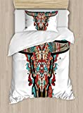 Ambesonne Western Duvet Cover Set Twin Size, Buffalo Sugar Mexican Skull Colorful Ornate Design Horned Animal Trophy, Decorative 2 Piece Bedding Set with 1 Pillow Sham, Turquoise Red Taupe