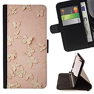 - Butterfly Retro Vintage Pink Peach/ Personalized Design Custom Style PU Leather Case Wallet Flip Stand - Cao - For HUAWEI P8 Lite