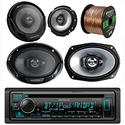 Kenwood Car CD MP3 Receiver with Bluetooth AM/FM Radio Player Bundle 2 6×9 Speakers, 2 6.5 Inch Speakers, Enrock 50 Ft 16g Speaker Wire (Built in Amp)