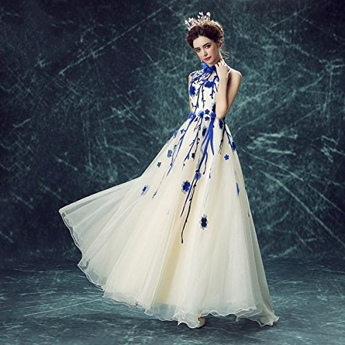 Longue Goddess Banquet 2 Sans Mariée Blanche Bleu Fleur Manches Cou Avec Sun Soirée De Mariée Doux Robe Haut De 14 Robe 8wdSvnq