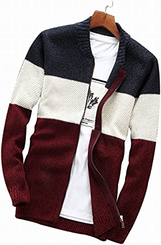 fanhang Męskie Langarm Slim Fit Reißverschluss Casual Cardigan Pullover Strick: Odzież