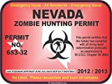 Nevada zombie hunting permit decal bumper sticker