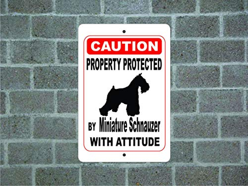 Fhdang Decor Property Protected by Miniature Schnauzer Guard Dog Warning Yard Fence Breed Metal Aluminum Sign,Metal Sign 8