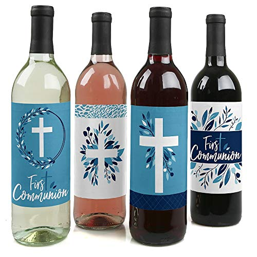 First Communion Blue Elegant Cross - Boy Religious Party Decorations for Women and Men - Wine Bottle Label Stickers - Set of 4 -