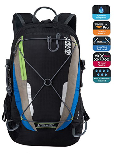 Cycling Hiking Backpack TERRA PEAK Water Resistant Travel Backpack Lightweight SMALL Daypack 30L Black Blue Review