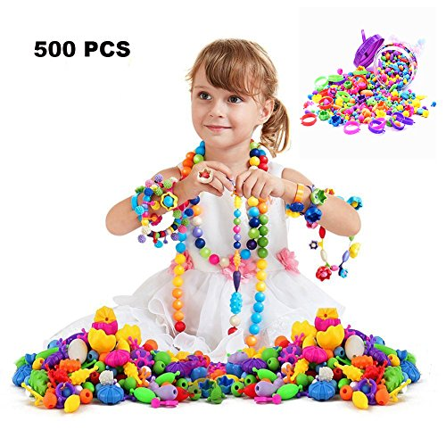 500 Pcs Pop Beads Set Snap Beads with Storage Box, DIY Jewelry Making Kit for Headwear Necklace Earrings Bracelets Rings Art Crafts,Birthday&New Year Gifts Toys for Kids Toddlers Girls Christmas Gift Ideas 5 Year Old Girl