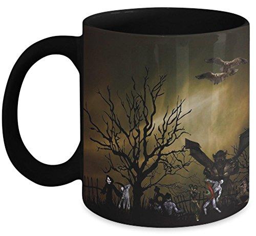 Vitazi Kitchenware Mug with Quote, 11 oz - Full Wrap Image - Halloween Theme - Graveyard, Dragon, Witch, Zombie, Warrior, Bat, Spooky Castle (Black) ()