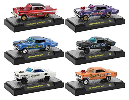 Gassers Release 51, Set of 6 Cars in Display Cases 1/64 Diecast Model Cars by M2 Machines 32600-51