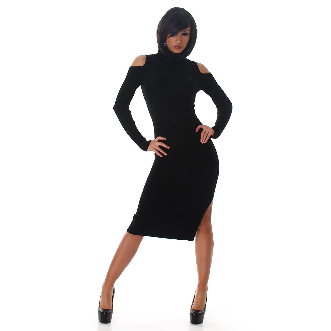 Vestido jersey de mujer Jela London Vestido de punto hasta la rodilla Manga corta con cuello de cisne de punto elástico: Amazon.es: Ropa y accesorios