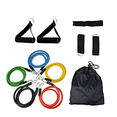 11 pcs Resistance Band Set, Yoga Pilates Abs Exercise Fitness Workout Bands + Dual Ab Roller Wheel for Abdominal Exercise