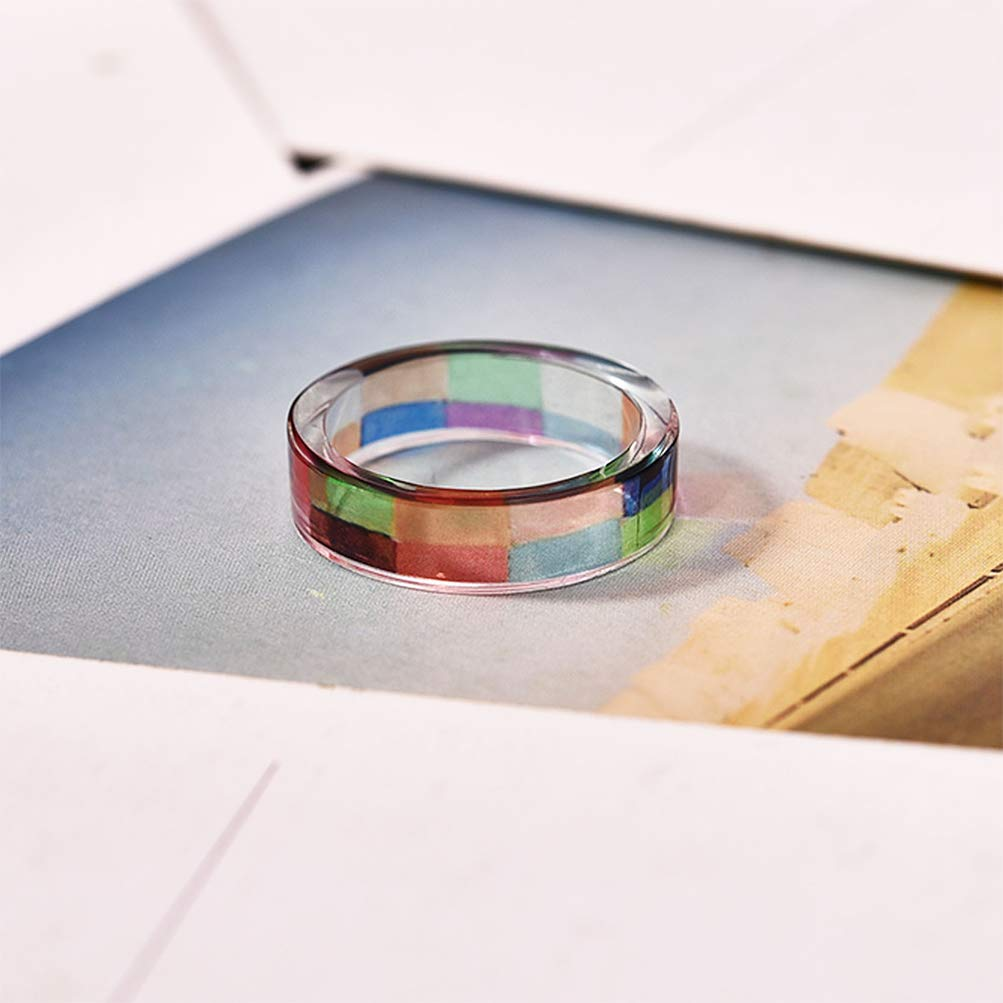 Leweil Multicolor Resin Band Ring for Women Daily by Leweil (Image #2)