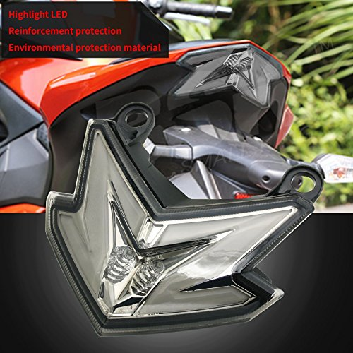 BSK Integrated LED Tail Light with Brake Stop Turn Signals Function Smoke Lens for Kawasaki Ninja Z125 Z125pro Zx6r 636 Z800 (Zx6r Tail)