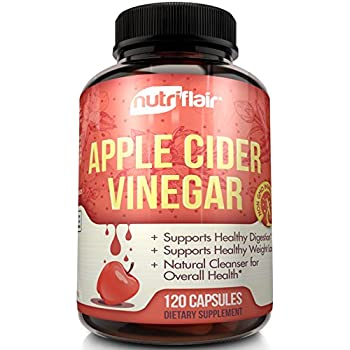 Apple Cider Vinegar Pills Extra Strength 625MG (120 VEGETABLE CAPSULES), Tested & Proven Results or Money Back - All Natural Non GMO Cider Capsules Supplement for Weight Loss, Detox & Digestion