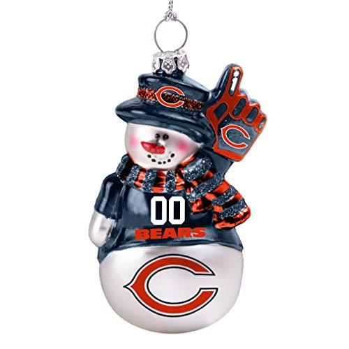 NFL Chicago Bears Glitter Snowman Ornament