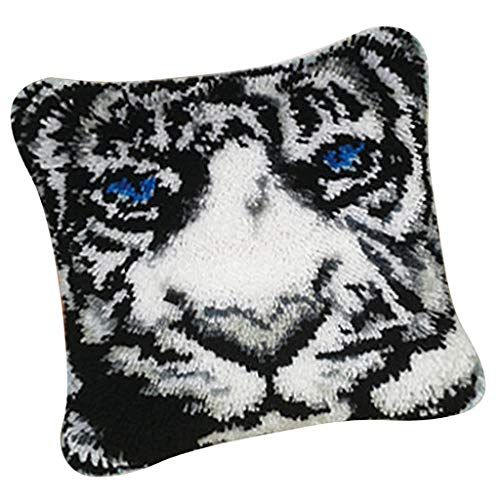 Prettyia Animal Pattern Latch Hook Kits - DIY Pillows Case Making - Home Ornaments - Tiger ()