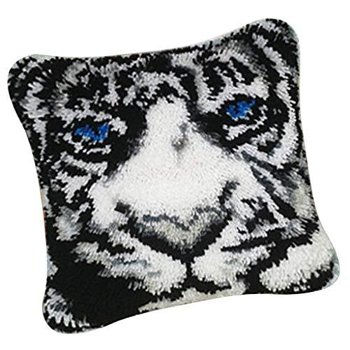 - Prettyia Animal Pattern Latch Hook Kits - DIY Pillows Case Making - Home Ornaments - Tiger White