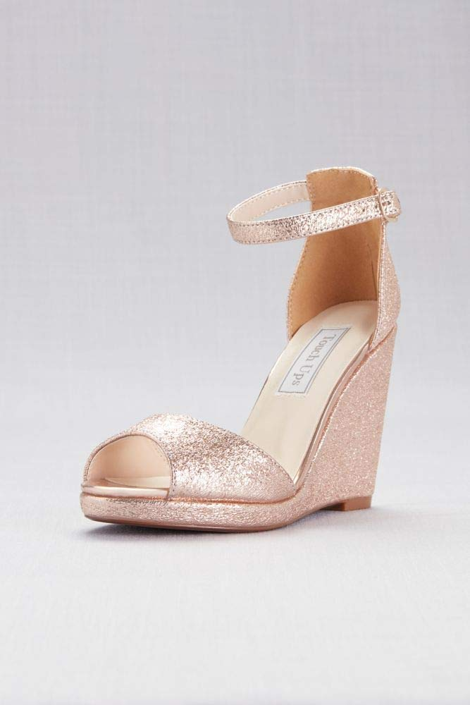 David's Bridal Ankle-Strap Peep-Toe Wedges Style Holly, Rose Gold, 9