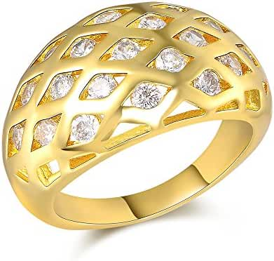 Mytys Yellow Gold Plating Mens Women Round Pave Square Rhinestone Simulated Fashion Bold Ring Band
