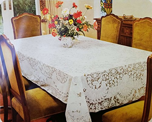 """New White or Ecru Color Lace Tablecloth. Floral Design. Available in many sizes Square, Round, Oval and Oblong (52"""" x 70"""" Oblong, Ecru)"""