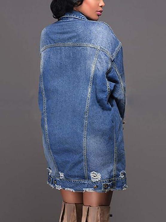 3a4657a5b9a38 Mujer Chaquetas Largas de Mezclilla Otoño Invierno Flojos Manga Larga Denim  Abrigos Moda Jeans Outwear Chaqueta Azul ES 34  Amazon.es  Ropa y accesorios