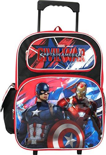 """Marvel Captain America Civil War 16"""" Large Rolling Backpack"""