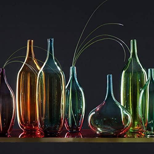 Lucente L/üster Objet de d/écoration Leonardo Vase Hauteur : 21 cm Bleu Verre souffl/é /à la Bouche