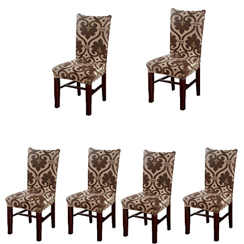 Deisy Dee Stretch Chair Cover Removable Washable for Hotel Dining Room Ceremony Chair Slipcovers Pack of 6 (U) (Set For Hotel Chair Table)