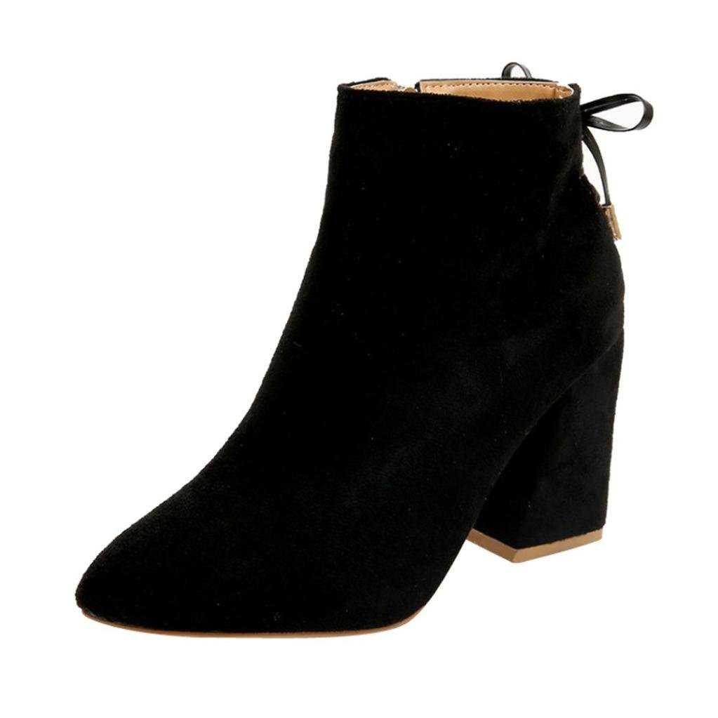 Hemlock Ankle Boots Womens, Ladies High Heels Flat Boots Shoes Zipper Lace Up Dress Boots (US:6.5, Black-1)