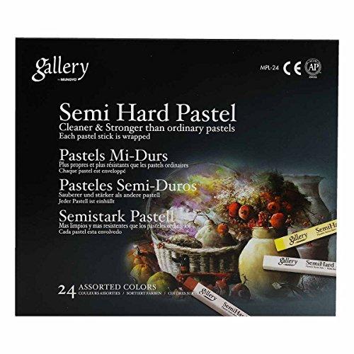 Mungyo Gallery Semi-Hard Pastels Cardboard Box Set of 24 - Assorted Colors
