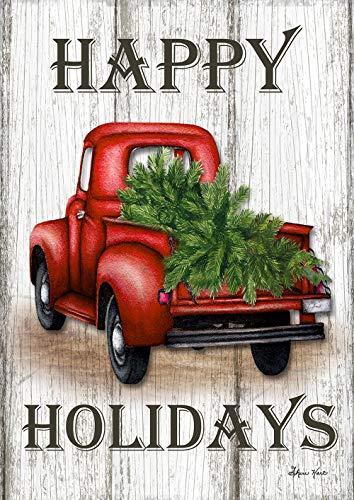 Toland Home Garden 1012262 Red Truck Holidays House Flag (28 x 40-Inch), Winter Christmas Woodgrain, Multi