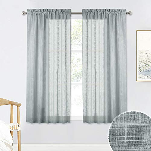 RYB HOME Linen Textured Sheer Curtains 45 inch Length for Kitchen, Natural Linen Blended Voile Drapes for Bathroom Small Window Decor, W 52 x L 45 inches per Panel, Set of 2 (Inch Curtains Sheer 45)