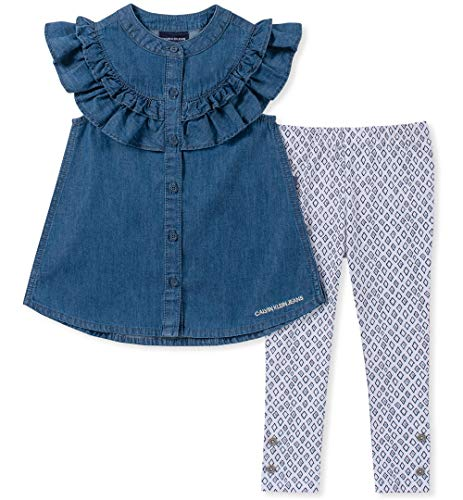 2 Piece Pant Set Denim - Calvin Klein Girls' Toddler 2 Pieces Legging Set Pants, Blue Denim, 2T