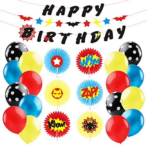 BeYumi Superhero Party Decorations Kit with Inspired Sounds Pattern Paper Fans, Happy Birthday Banner and Garland, Red Yellow and Blue Balloons for Kids Birthday