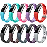 fan products of AIUNIT Fitbit Alta and Alta HR Bands, Newest Accessory Band Replacement Wristbands Small for Fitbit Ace W/Unique Metal Clasp for Alta and Alta HR Fitness Tracker Women Men(10 Pack, Stripe Texture)