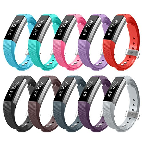 AIUNIT Compatible Fitbit Alta Band, Replacemnt for Fitbit Alta and Alta HR Newest Accessory Band Small for Fitbit Ace Bracelet Strap Adjustable Wristband 10Pack W/Fastener Clasp Women Men Kids Stripe