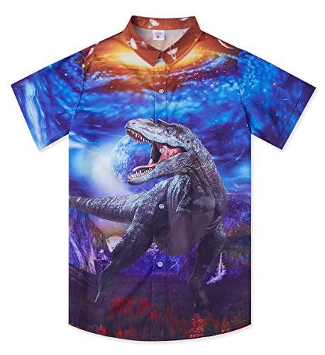 Uideazone Summer Beach Holiday Funky Short Sleeve Shirt Dinosaur Galaxy Universe 3D Printed Tropical Pattern Button Down Shirt Relaxed Casual Regular Vacation Hawaiian Aloha Shirt