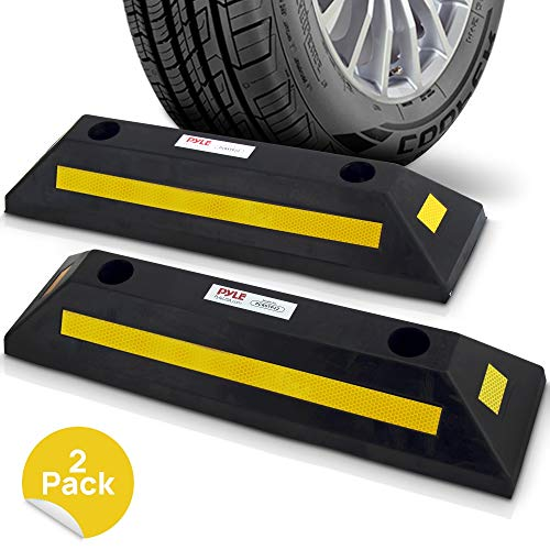 Garage Floor Stops for Vehicles - 2PC Heavy Duty Rubber Vehicle Parking Lot Target Stoppers, Truck Curb Tire Wheel Guide Blocks, Car Park Aid Assist Bumpers/Stopper for Driveway Stop - Pyle PCRSTP22