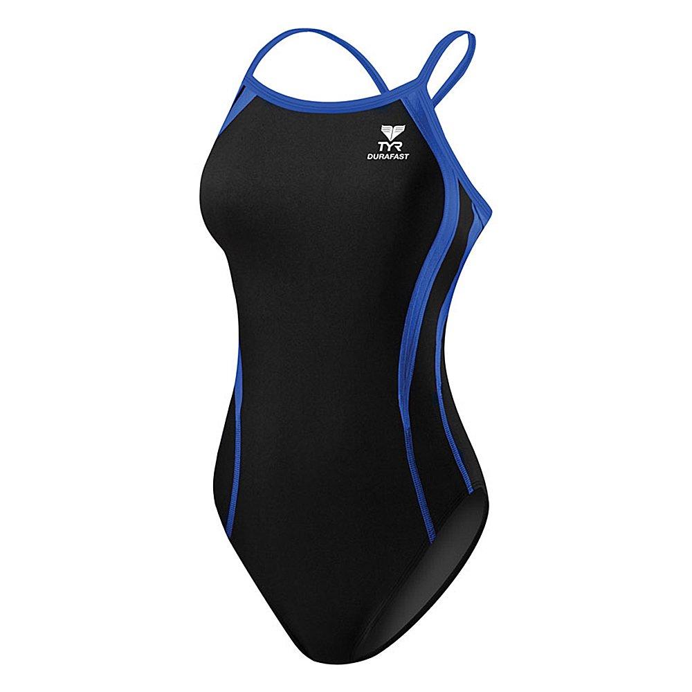 TYR Sport Women's Durafast One Alliance Splice Diamondfit Swimsuit (Black/Blue, 22)