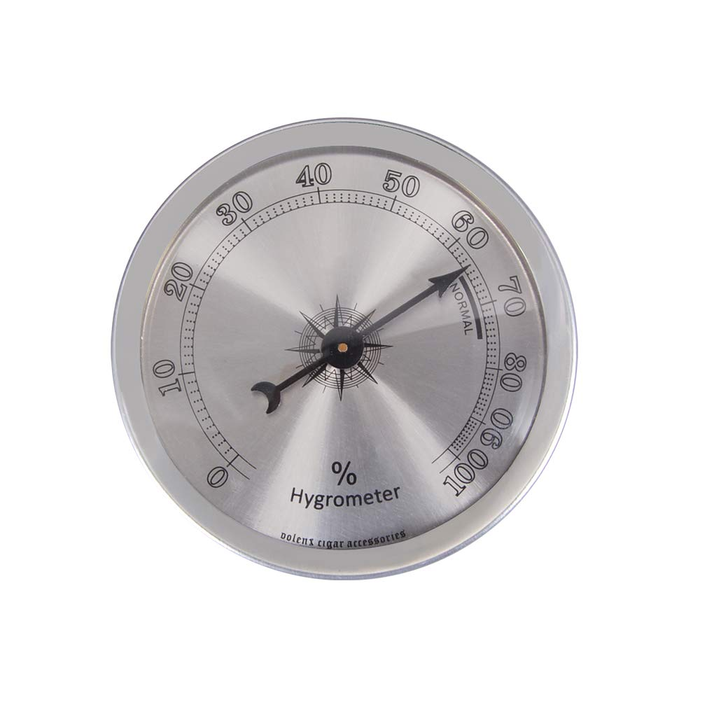 Analog Hygrometer for Cigar Humidor, Round Indoor Humidity Gauge Monitor with +/- 1% Accuracy (Silver)