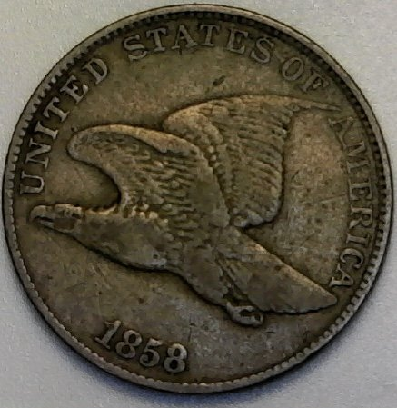 1858 P Flying Eagle ((Large Letters)) Beautiful Coin Penny Cent Fine