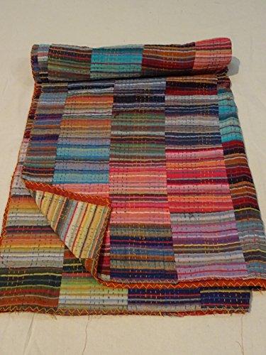 Tribal Asian Textiles Multi Patch Work Kantha Quilt ueen Bedspread Indian Bedding Blanket Throw