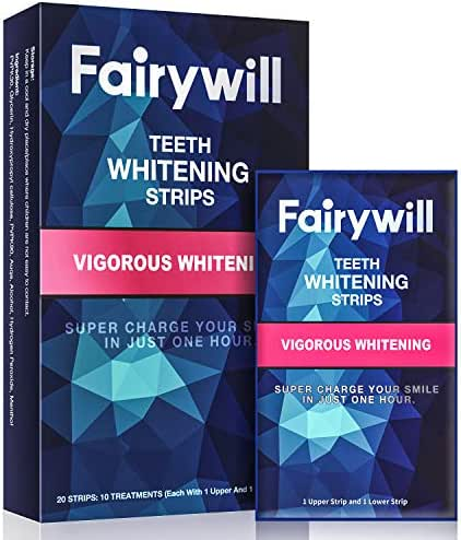 Fairywill Teeth Whitening Strips 1 Hour Express Whitening, 3D White Professional Effects White Strips Remove Coffee and Tea Stains, Pack of 20 Pcs Whitening Strips