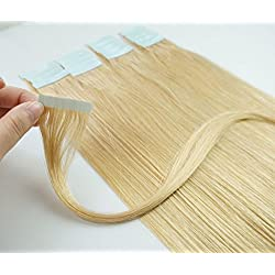 FANGYUANHAIR Straight 18 Inches Dark Blonde 20pcs Tape in Human Hair Extensions (#24)